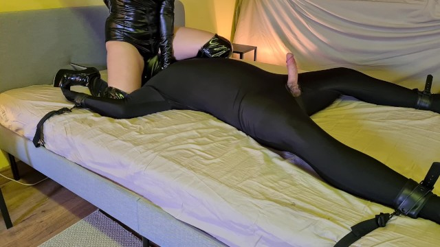 Fuck tie Tied up slave gets facesitted, whipped, fucked and ruined by cruel femdom mistress