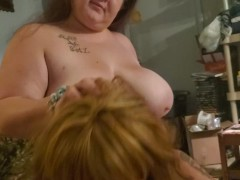 Wife and Sissy Cuckold Share Bulls Cock
