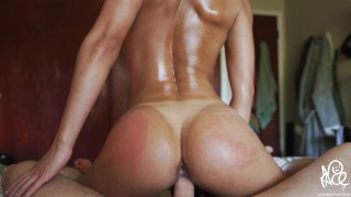 Perfect Ass Gets Oiled Up And Fucked (INTENSE ORGASM ) - Amateur Babe NoFAceGirl
