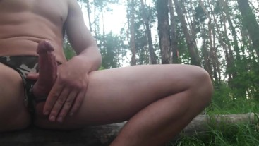 29.jerking off dick in the woods.