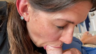 Milf almost gets caught sucking my cock by her mom right as I cum POV. Still swallows it