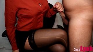 Secretary Jerks Off New Boy at Work until Cum on Crossed Legs in Pantyhose #9 (Cum on Tits!)
