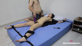 Mao gets tied up to the bed and is played with until she climaxes