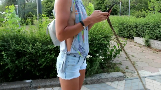 Sexy in the city escorts Sexy jeans shorts side boob and nip slip during pitbull walk in the city