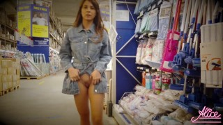 Brunette Walking In The Mall And Naked - Public Nudity