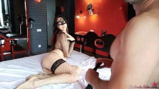 Babe in Mesh Stockings Sensual Sucking and Doggystyle Fucking - Soft BDSM