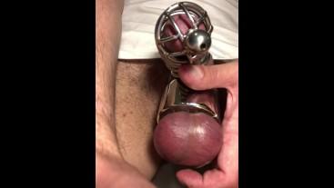 Chastity Device ON ** MASTURBATION **