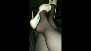 dangling with bride shoes... all to cum inside!