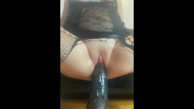 Giant black pussy videos Snapchat trailer- pussy stretched and squirting on giant black didlo