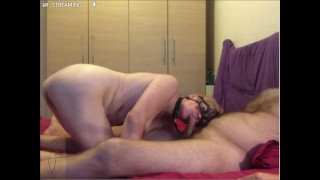 Collared blowjob. Webcam session