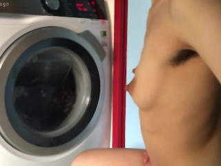 Hairy armpits ignores you just watches washing machine...