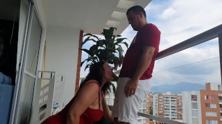 Kathalina777 does a delicious fuck anal on the balcony of her house+ends with the milk in her mout