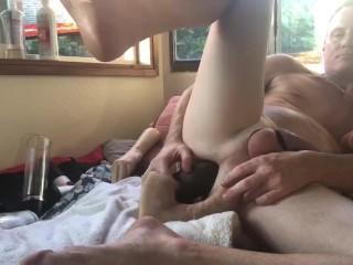 Big brown anal w cock pump...