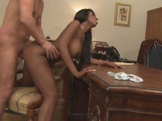 Ebony young milf with big natural tits and...