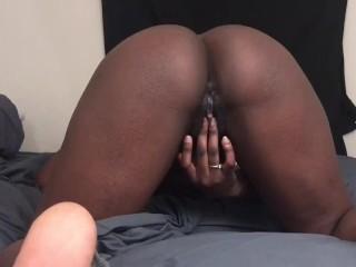 Rubs cum filled pussy...