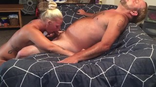 Swallowing hubby's cum