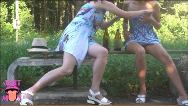Drinking with my stepsister without panties in park