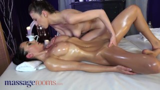 Screen Capture of Video Titled: Massage Rooms Lesbian lovers Anna Rose and Emylia Argan erotic oil soaked pussy licking