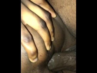 Spreads pussy for raw bbc...