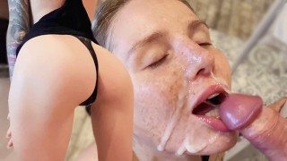 Cute Babe Blowjob Big Dick in the Kitchen and Facial POV