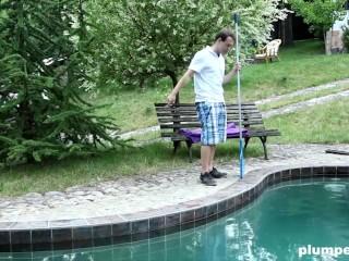 BBW Leaves Pool Boy Breathless