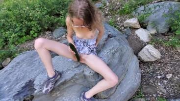 Amateur Teen Sarah Evans Fucks a Huge Cucumber in Public
