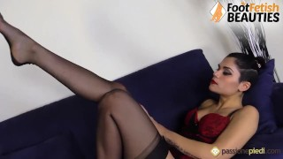 Hot barefoot brunette puts nail polish on, then teases you