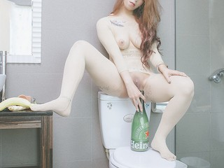 Masturbation with everything in the bathroom...