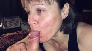 Mature cougar loves sucking off her young man POV BJ