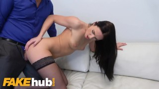 Fake Agent Shy skinny babe Leanne Lace loves to ride
