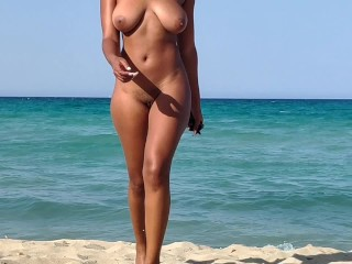 Naked beach hot wife exhibitionist and masturbating in...