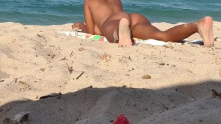 Naked beach hot wife exhibitionist and masturbating in public