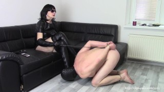 A slave of my boots, part: Suffering by boots, worship and whipping (SAMPLE)