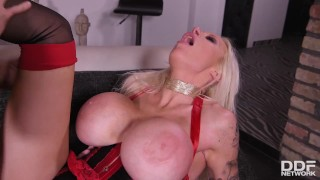 Double penetration with busty Sophie Anderson ends cum all over her face and tits