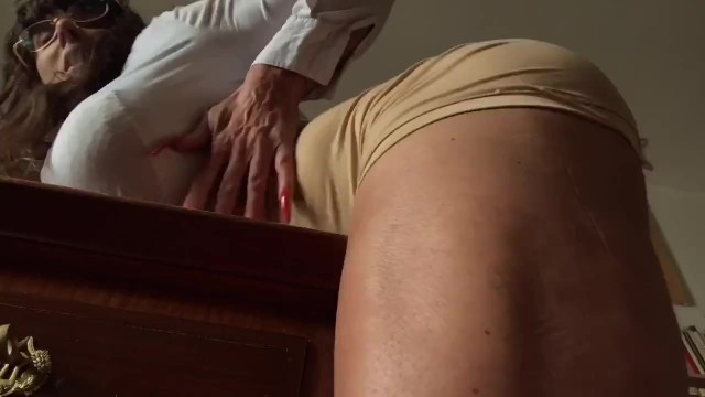 Stroking clit Rubbing my huge muscular clit on the desk