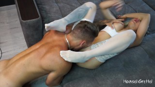 Sport Teen in Stockings with Big Boobs Fucked Hard and got Pussy Licking and Squirt Orgasm