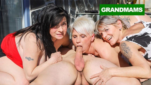 Sore bottoms for three Three hungry grannies finish up a young cock