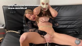 Horny slut gets a hard pussy spanking