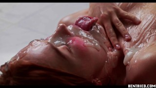 Jia Lissa Ahegao went full Extreme Bukkake - Full of cum redhead - Real life hentai