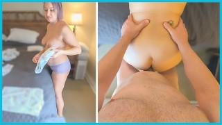 Big Tits POV MILF Takes Cock Break While Folding Laundry