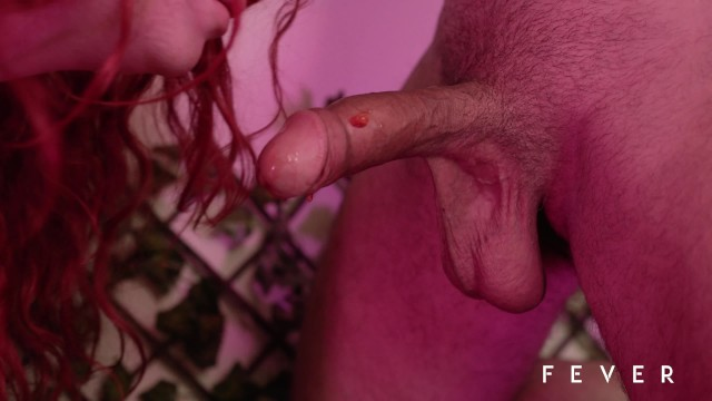 Sexy redhead fucking with fruits, vegetables and mature man 17