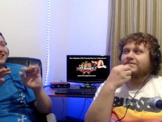 2 heterosexual men sit in corner of room...