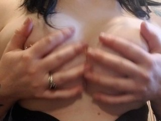 Playing with my pierced titties