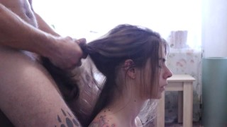 Hairjob Pretty brunette with long hair Cumshot on hair