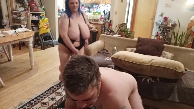Hot wife pegging my ass while her gorgeous huge tits bounce 1