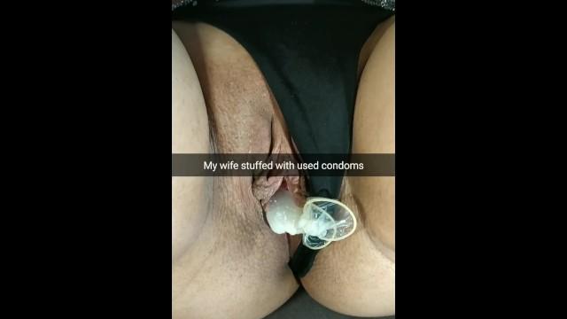 奥さんのオマンコにザーメンだらけの中古コンドームが2つ ... ▶1:02