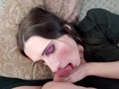 Trans girl fucks, frots, and plays with cum POV