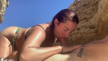 Public Blowjob on the Beach - Cum in Mouth