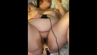 Wife gets fucked by sex machine and cums all over dildo part 1