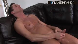 Muscular type, jerks off after an oil massage